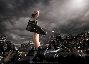 Female model drowning in shoes
