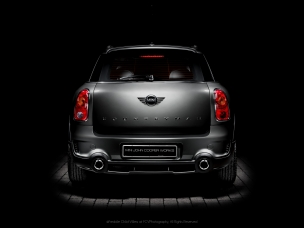 Automotive photography rear of a Johnny Cooper Works Mini Countryman